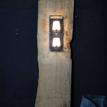 Artisan Wandleuchte aus schwarzem Eisen mit 2 Lampenschirmen Made in Italy - Tower