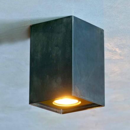 Kubiklampe aus schwarzem Eisen mit mattierten Schweißnähten Made in Italy - Cubino