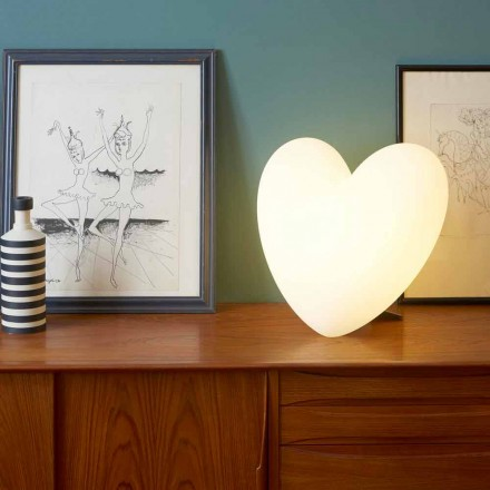 Farbige herzförmige Tischlampe Slide Love, hergestellt in Italien
