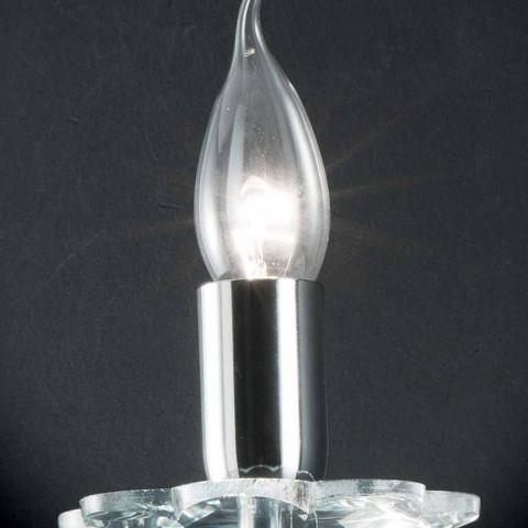 Designer Wandlampe in Ivy Glas und Kristall, made in Italy
