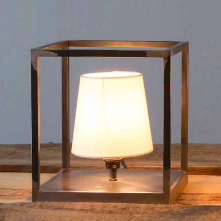 Handgefertigte Tischlampe aus Eisen mit Lampenschirm Made in Italy - Cubola