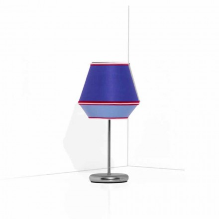 Blaue Tischlampe mit verchromter Metallstruktur Made in Italy - Soja