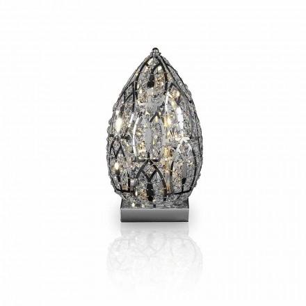 Tischlampe aus Kristall und Stahl eiförmig Egg
