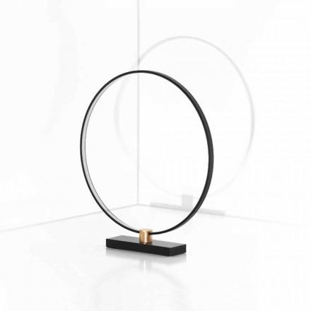 Design Tischleuchte aus schwarzem Aluminium und Messing Made in Italy - Norma