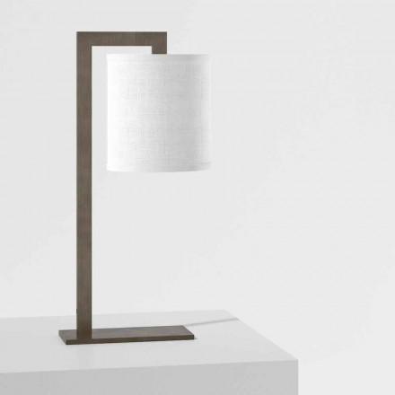 Design Tischlampe aus Metall und weißem Leinen Made in Italy - Bali