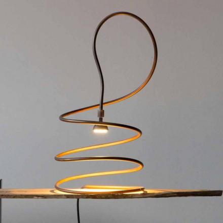 Design Tischlampe in Kupfer brüniert Effekt Made in Italy - Fusillo