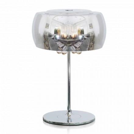 Design Tischlampe aus Glas, Kristall und verchromtem Metall - Cambria