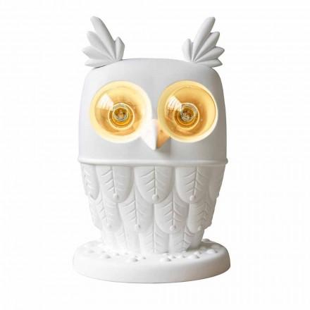 Tischlampe aus mattweißer Keramik 2 Lichter Modernes Design Eule - Eule