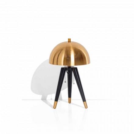 Tischlampe aus schwarzem Metall und gebürstetem Messing Made in Italy - Peter