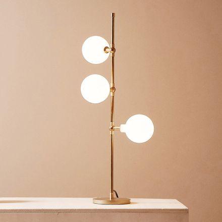 Moderne handgefertigte Tischlampe aus Messing mit LED Made in Italy - Grippa