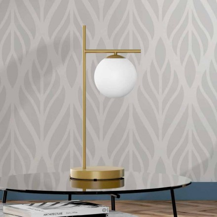 Moderne Tischlampe aus Messing und Glas Made in Italy - Carima