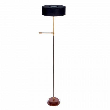 Stehlampe mit handgefertigtem schwarzen Leinenschirm Made in Italy - Aurelia