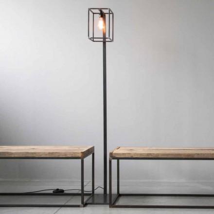 Stehlampe mit Artisan Black Iron Struktur Made in Italy - Cubola