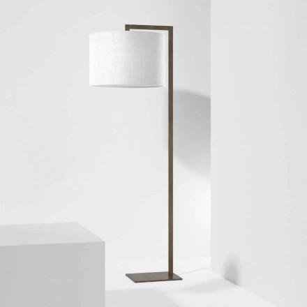 Design Stehleuchte aus Metall mit Leinen Lampenschirm Made in Italy - Bali