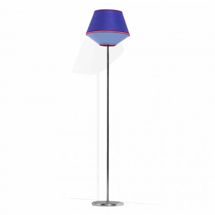 Stehlampe aus verchromtem Metall mit Stofflampenschirm Made in Italy - Soja