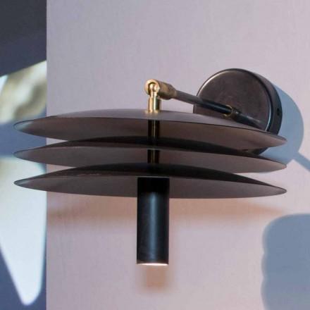 Handgemachte Lampe aus Eisen mit dunkler Säure mit LED Made in Italy - Solano