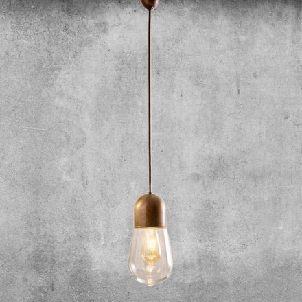 Hängelampe Design Vintage aus Messing und Glas - Guinguette Aldo Bernardi