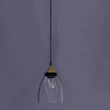Design Hängelampe aus Metall und transparentem Glas Made in Italy - Clizia