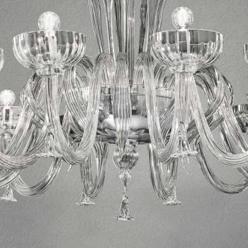 12-flammiger handgemachter venezianischer Glas-Kronleuchter, Made in Italy - Regina
