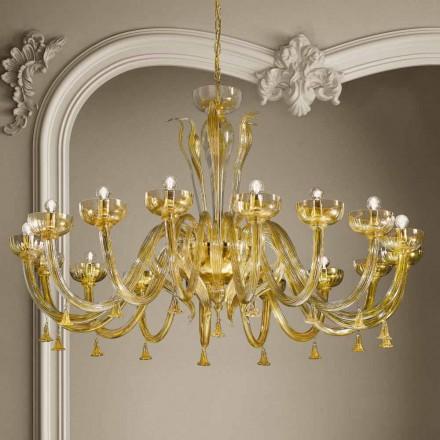 16-flammiger Kronleuchter aus venezianischem Glas und Gold, handgefertigt in Italien - Regina