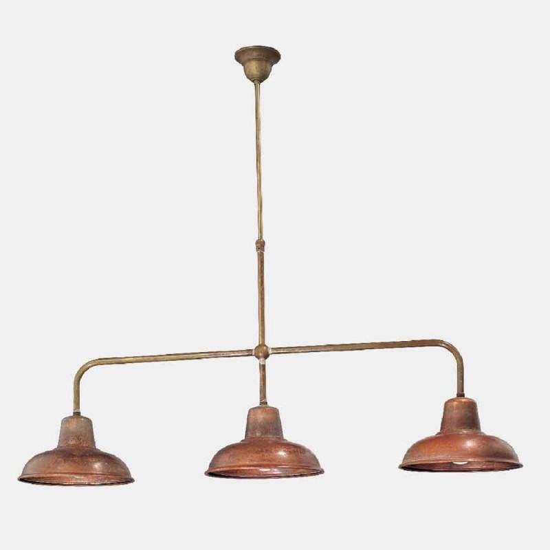 3-flammiger Kronleuchter im Vintage-Design aus Kupfer und Messing - Contrada von Il Fanale