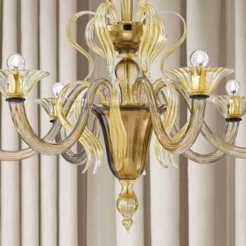 Artisan 6-flammiger venezianischer Glaskronleuchter Made in Italy - Agustina