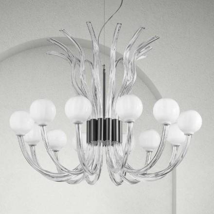 Artisan Kronleuchter mit 12 Lichtern aus venezianischem Glas, Made in Italy - Antonietta