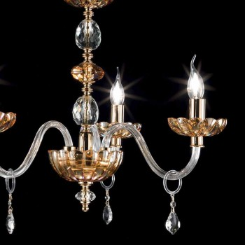 Klassischer Kronleuchter aus Kristall und Glas mit 3 Leuchten Belle, made in Italy