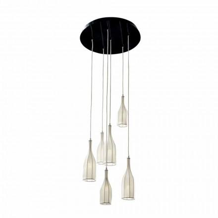 Design Pendellampe mit 6 Lampenschirme Grilli Mathusalem in Italien hergestellt