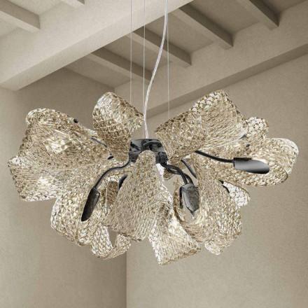 Moderner Kronleuchter mit 12 Lichtern aus Venedig Glas, Made in Italy - Diamonique