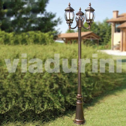 Outdoor-drei-Licht-Laternenpfahl aus Aluminium, hergestellt in Italien, Anika