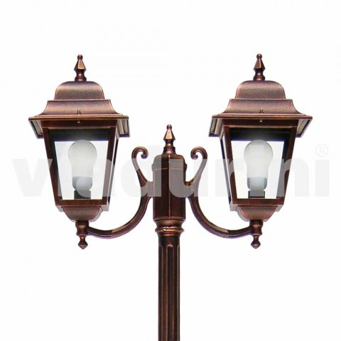 Straßenlampe aus Aluminium mit zwei Leuchten, hergestellt in Italien, Aquilina