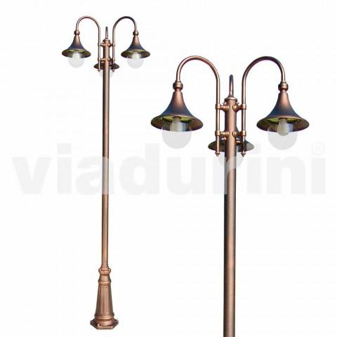 Straßenlampe aus Aluminium mit drei Leuchten für den Außenbereich, hergestellt in Italien, Anusca