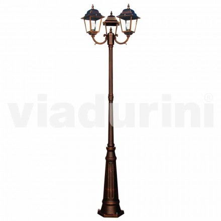 Klassischer Outdoor-Laternenpfahl mit drei Lichtern, hergestellt in Italien, Aquilina