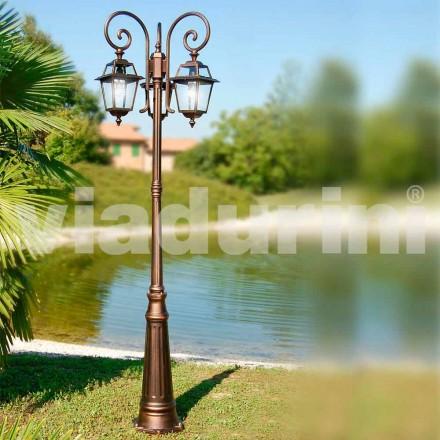 Garten drei Lichter Laternenpfahl aus Aluminium, hergestellt in Italien, Kristel