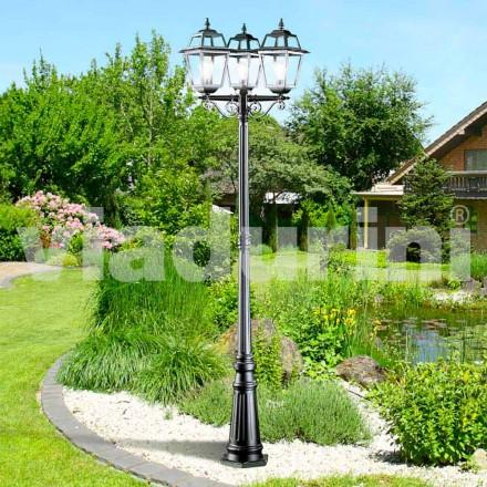 Klassischer Garten-Laternenpfahl mit drei Lichtern aus Aluminium, Kristel