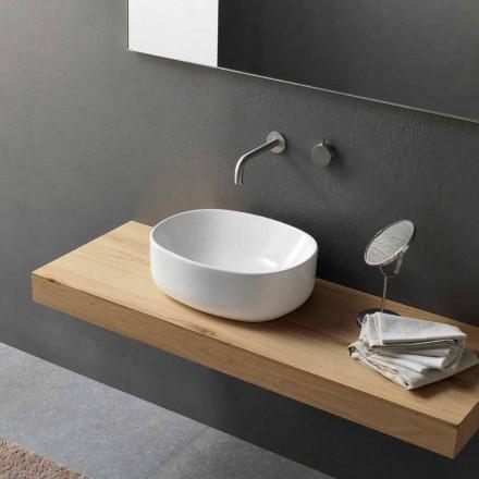 Modernes Design Oval Arbeitsplatte Waschbecken in weißer Keramik - Ventori2