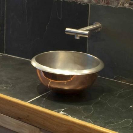 Aufsatzwaschbecken aus Kupfer und weißem Eisen Pure