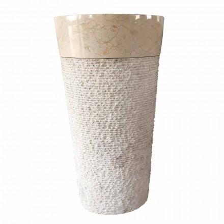 Natürliches weißes Steindesign freistehendes Waschbecken Siro, Einzelstück