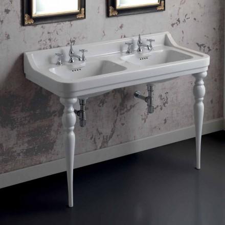 klassische Waschbeckenkonsole mit Doppelwaschbecken aus Keramik made in Italy, Swami