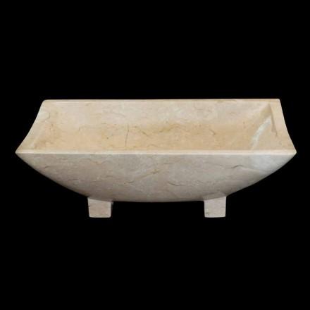 Aufsatzwaschbecken aus Naturstein weiß Iria, 50x30x16 cm