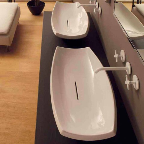 Weißes Keramikwaschbecken mit modernem Design Made in Italy Laura