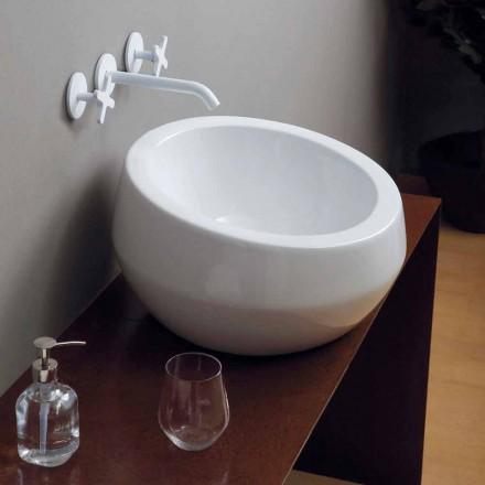 Rundes Aufsatzwaschbecken aus Keramik, Design made in Italy Elisa