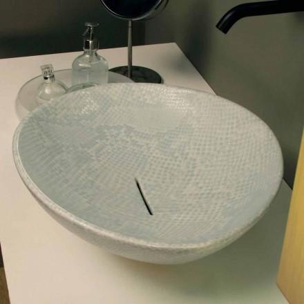 Design Aufsatzwaschbecken, weiß-Python, Keramik Animals made in Italy