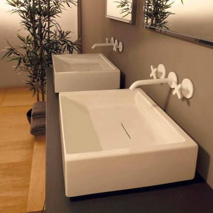Rechteckiges Aufsatzwaschbecken aus Keramik Desing made in Italy Dalia