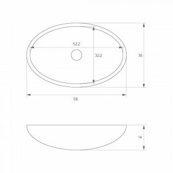 Freistehendes ovales Standwaschbecken, hergestellt in Italien, Frascati