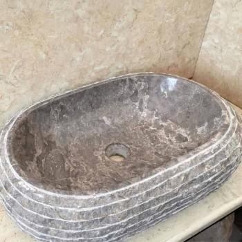 Efeu-graues Aufsatzwaschbecken aus Stein, Einzelstück