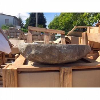 Arbeitsplatte Waschbecken Handgefertigt in River Stone - Aurea
