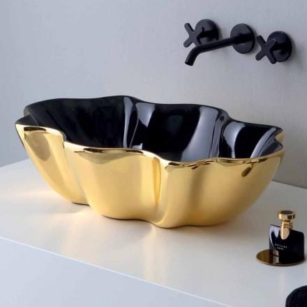Aufsatzwaschbecken aus goldener und schwarzer Keramik, hergestellt in Italy Cubo