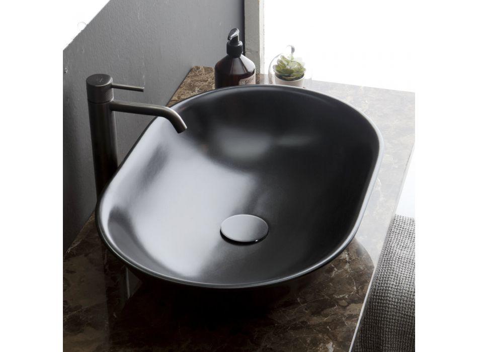 Ovales Aufsatzwaschbecken aus matter Keramik Made in Italy - Nelly